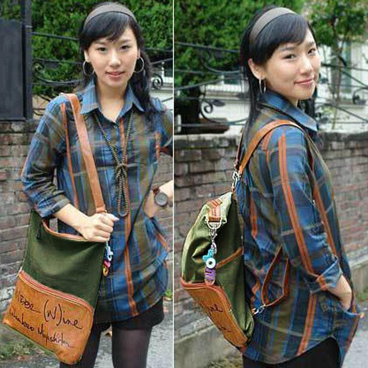 New Style Women 2 in 1 Shoulder Bag and Backpack Girl's Canvas Travel Bag