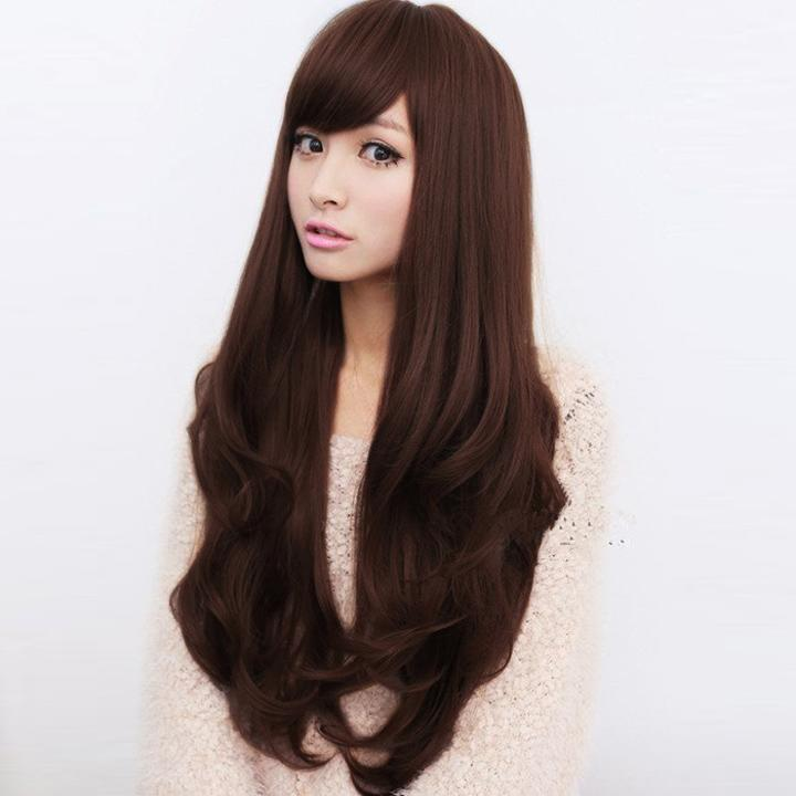Stylish Women Wig Synthetic Hair Wigs Oblique Bangs Long Wavy Artificial Hair