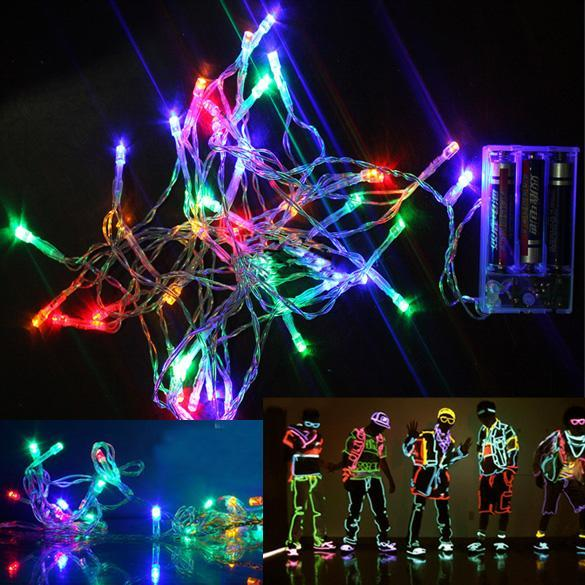 Temporary String Lights Led : Portable 4M Colorful 30-LED String Lights Party Xmas Decor Lamp 3xAA Battery