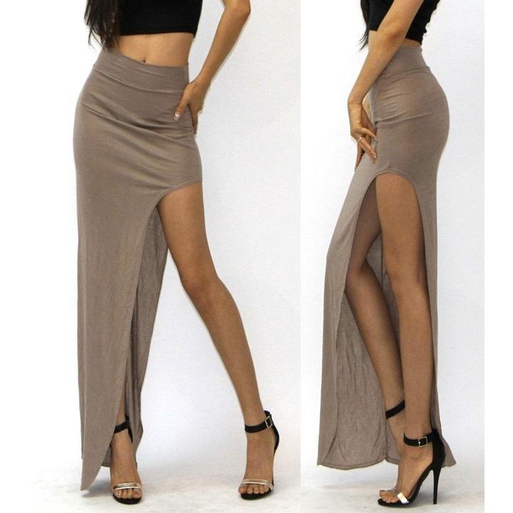 Women's Summer High Waist Rayon Jersey Side Open Leg Slit Split Long Maxi Skirt