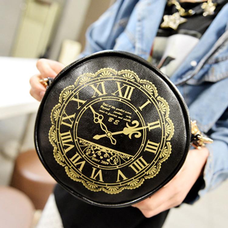 Vintage Women Print Shoulder Bag Round Shape Mini Messenger Cross Bag Soft