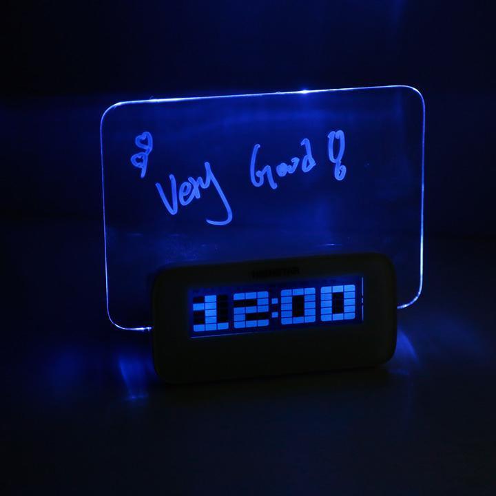 2 Colors LED Fluorescent Message Board Digital Alarm Clock Calendar Thermometer