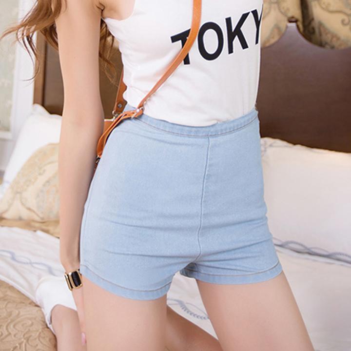 3 Sizes Women Slim High Waist Jeans Demin shorts Pants Tight Side Button 1Pcs