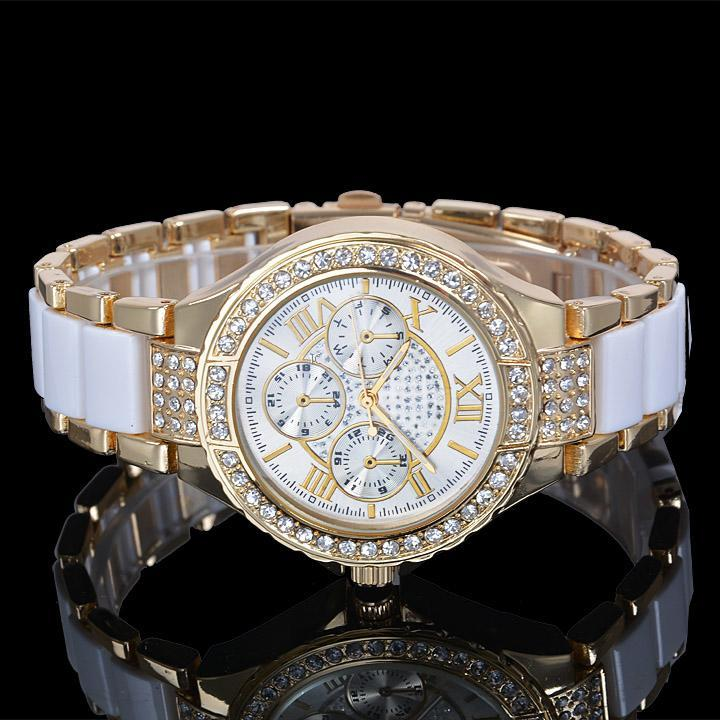 Geneva Women's Round Bracelet Gold Silver Designer Crystal ...