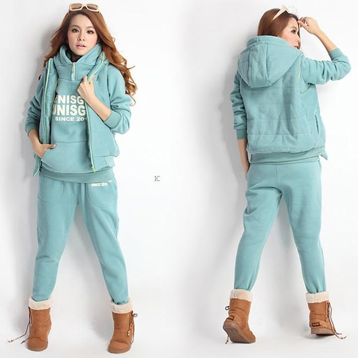 ... Women-Hoodies-Coat-Vest-Pants-3pcs-Jumper-Suit-Tracksuit-Activewear