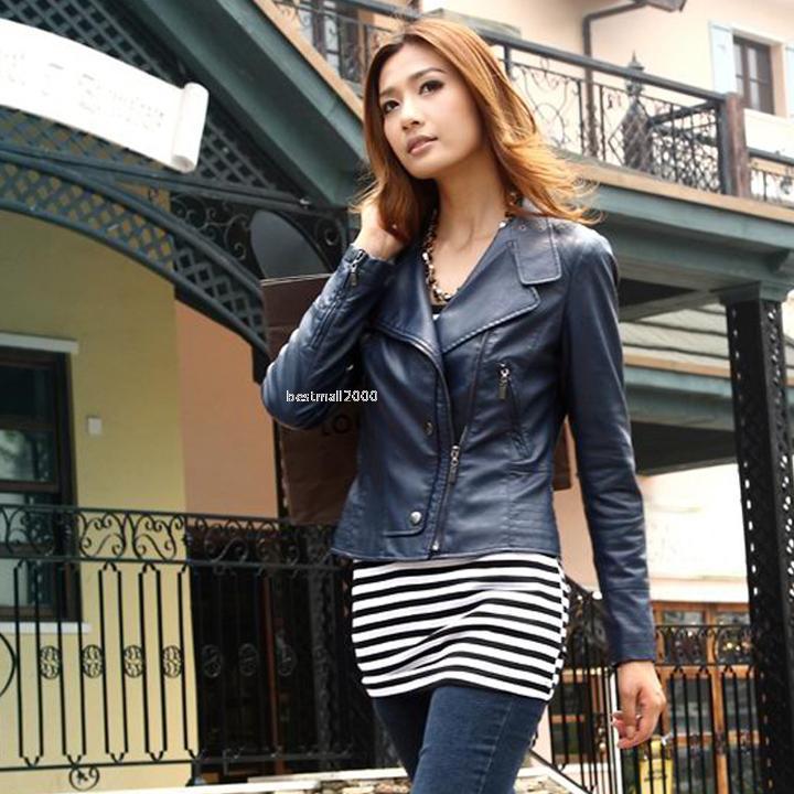 Ladies Outerwear Stylish Long sleeve Synthetic Leather Coats Biker Short Jackets