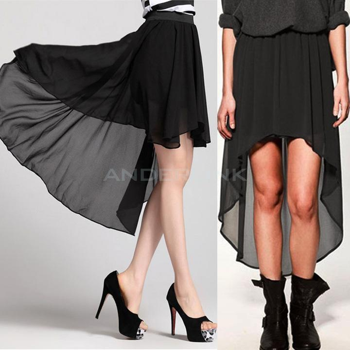 New Women Chiffon Pleated Retro Long Maxi Dress Elastic Waist Short Skirt BB