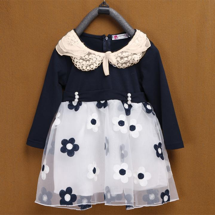 New Style Baby Girl Kids Children's Long Sleeve Fashion Cute Dress 2 colors