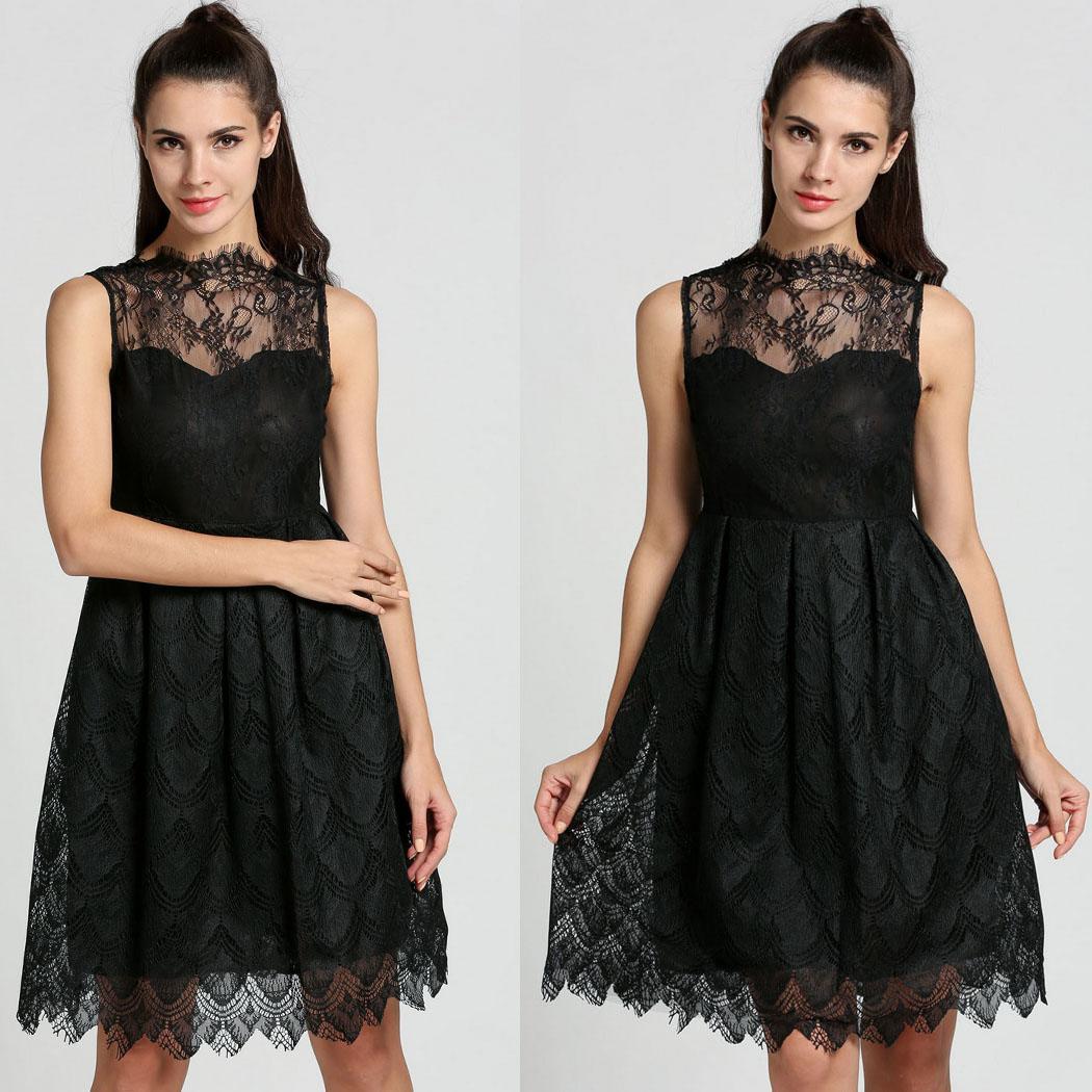 Hot Hollow Out Floral Lace Dress Women A-line Pleated Tutu Bubble Black Dresses