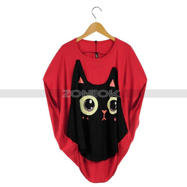 Casual Loose Bat Sleeve T-shirt Cat Pattern Round Collar Red/ Black Tops Women