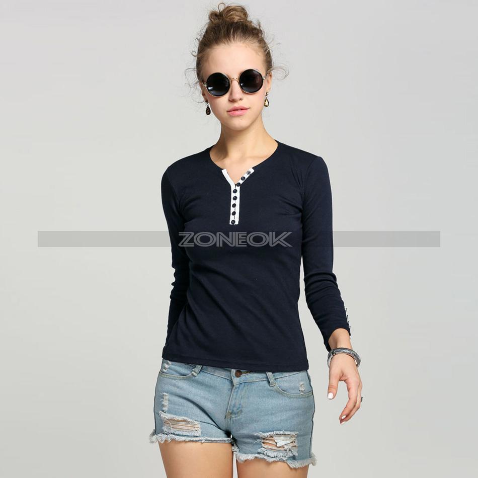 Women Slim Long Sleeve Bottoming Shirt Crew Neck T-shirt Top Blouse Casual Tee