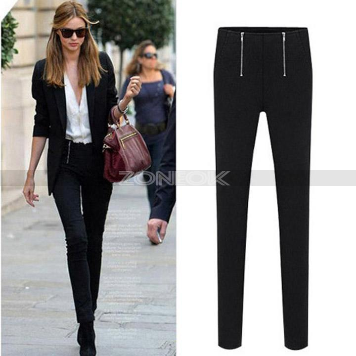 Lady High Waist Pants Stretch Casual Mini Pencil Slim Fit Skinny Jeans Trousers