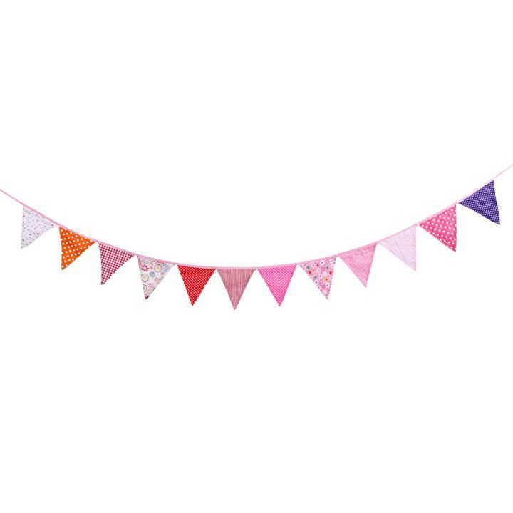 12pcs Fabric Pennant Flags Banner Birthday Party Room