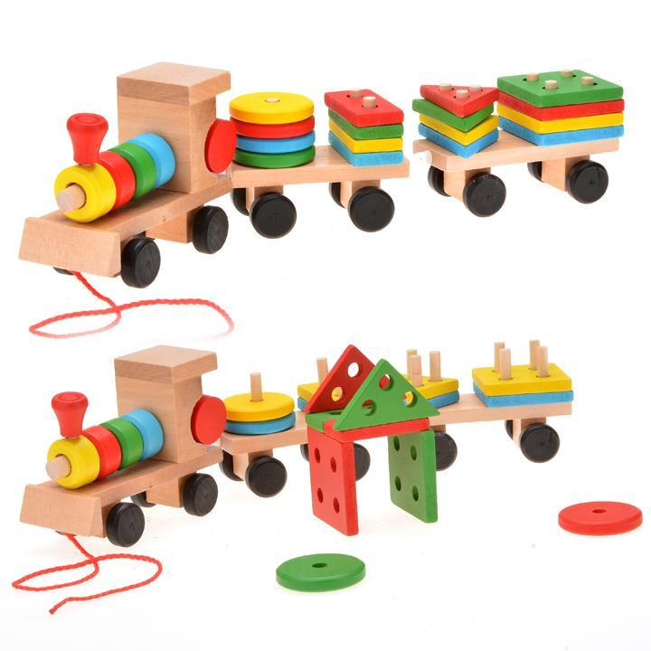 Kids Stacking Toys : Funny children education toys wooden stacking train