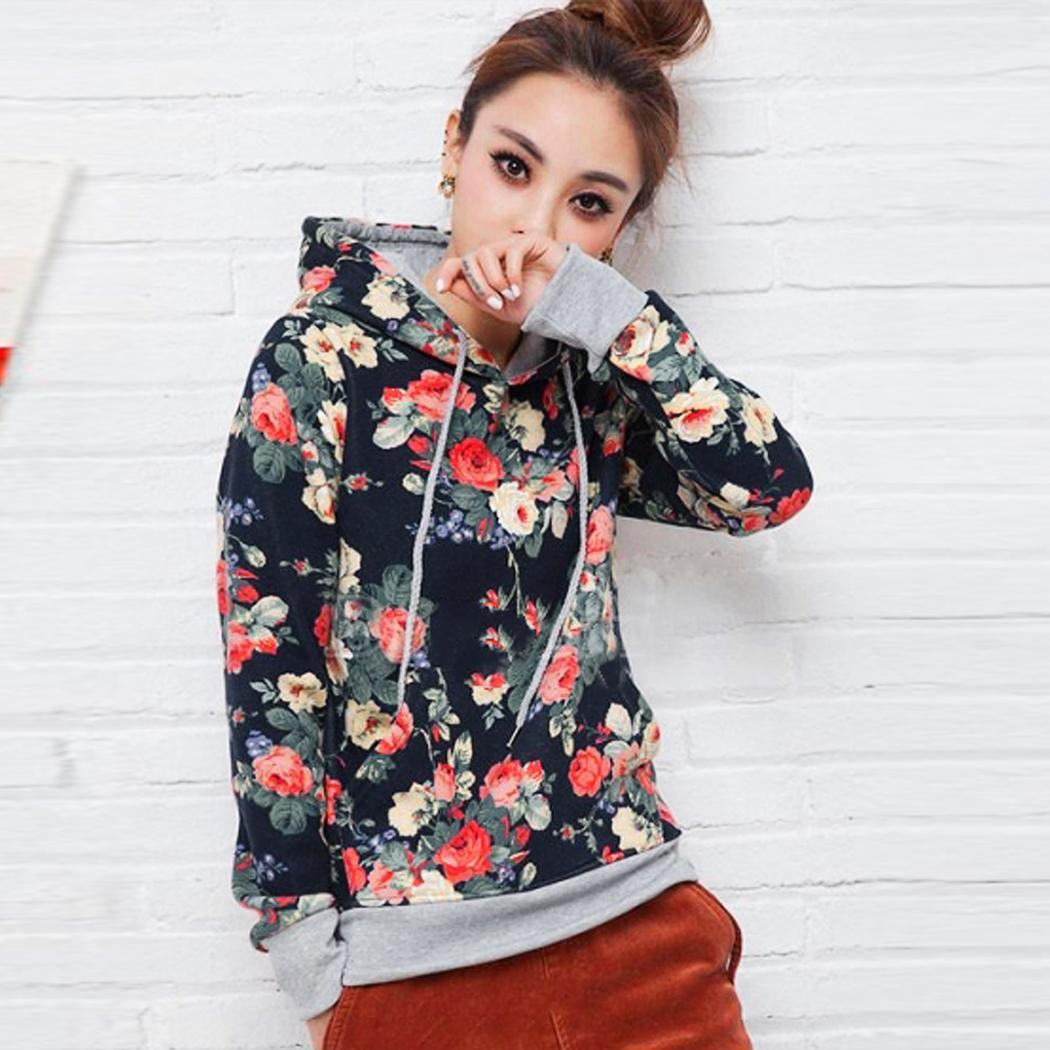 Fashion Ladies Women Fashion Long Sleeve Floral Pullover Spring Autumn Hoodie