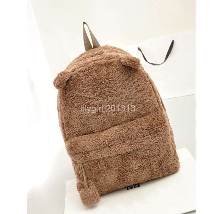 New Korean Cute Casual Women Backpack Plush Panda Shoulder Bag School Bag