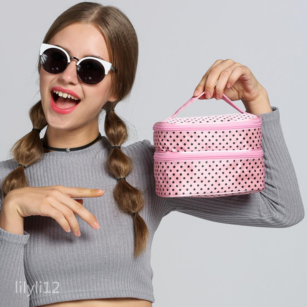Portable Women's Double-Deck Dot Pattern Toiletry Bag Makeup Cosmetic Bag New