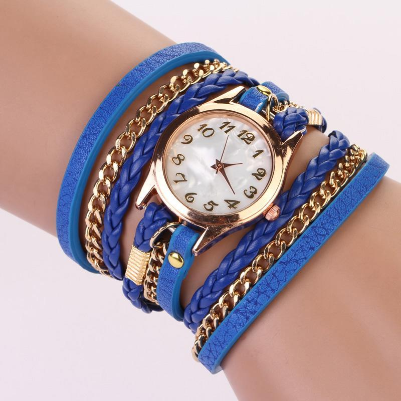 Cute Women Retro Pu Synthetic Leather Strap Quartz Watch Bracelet Wristwatch