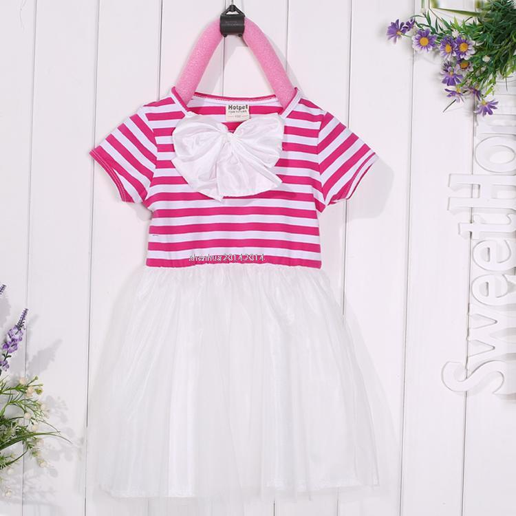 Baby New Child Kids Girl's Bow Stripe Net Yarn Short Sleeve Bubble Dress SHSU