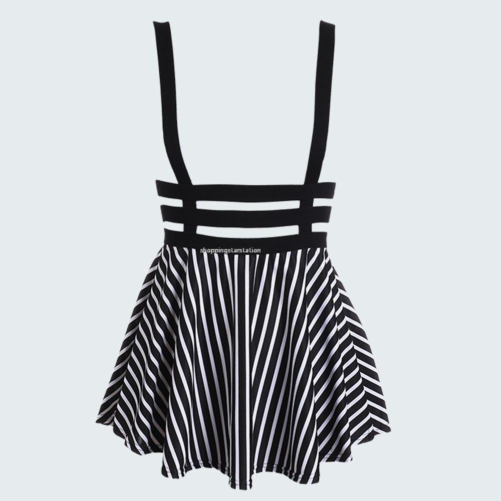 Cute Women Mini Skater Suspender Skirt Ladie Strap Hollow High Waist Short Dress
