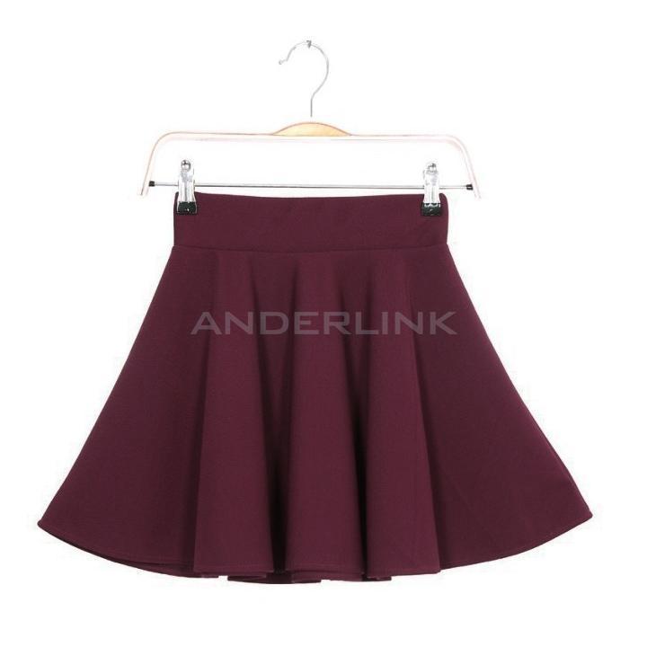 Women Candy Color Stretch Waist Plain Skater Flared Pleated Mini Skirt Dress TPK
