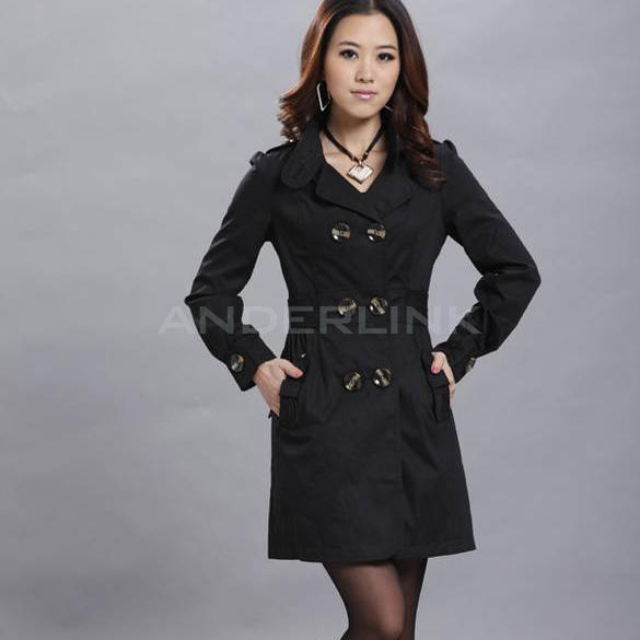 Womens Fashion Long Sleeve Trench Slim Fit Double Breasted Coat Jacket Outwear