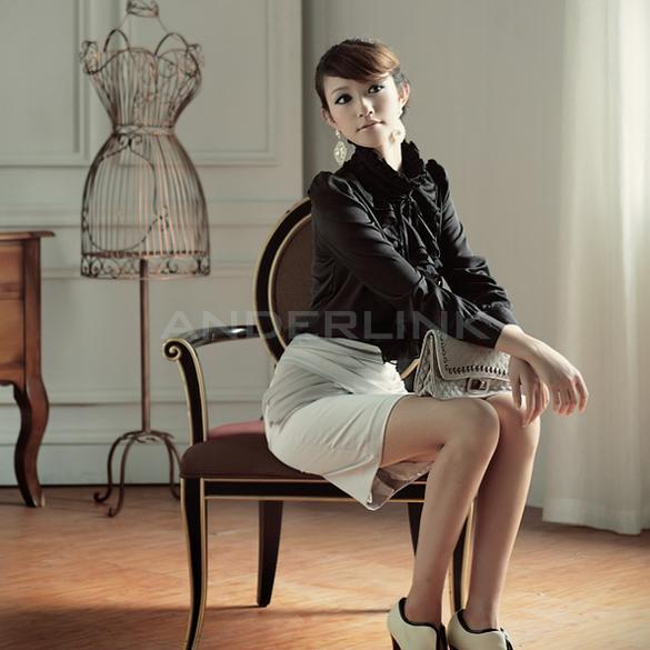 Women OL Vintage High Neck Frilly Lapel Ruffle Collar Tops Shirt Blouse TTPK