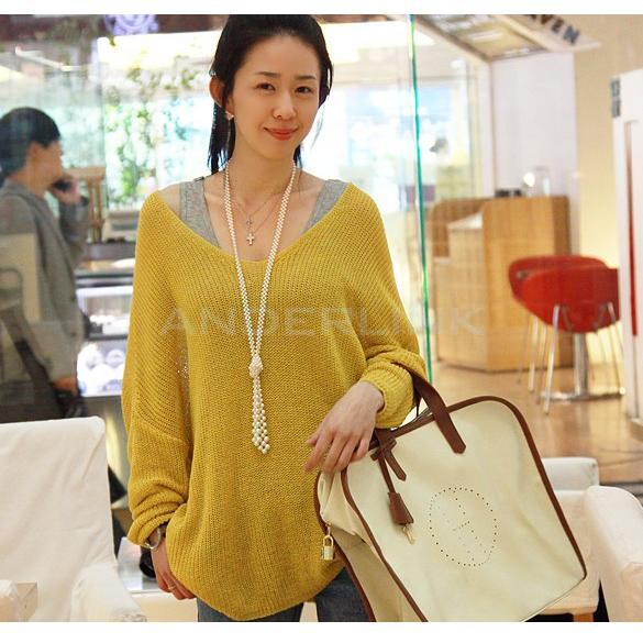 Women-V-neck-Oversized-Batwing-Slouchy-Knit-Shirt-Jumper-Loose-Sweater-Top-TTPK