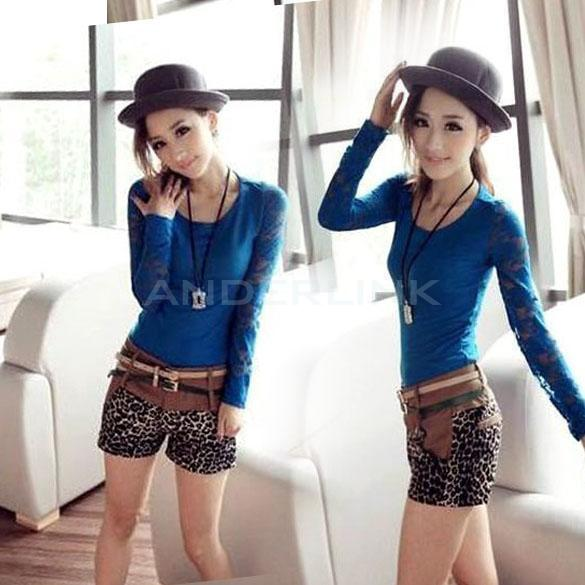 Fashion Sexy Women Lace Floral Slim Long Sleeve Shirt Tops Blouse T-Shirt TTPK