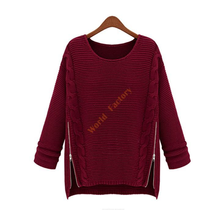 Chic Womens Crew Neck Loose Knitted Jumper Sweater Long Sleeve Pullover Outwear
