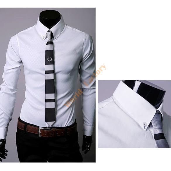 Fashion Mens Plaid Lapel Slim Dress Fit Shirts Casual Formal Blouse Tops M-XXL