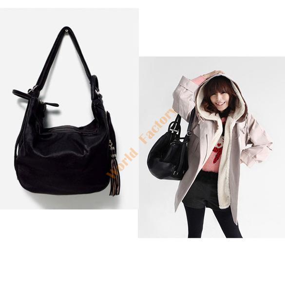 Hot Ladies Red/Black PU Leather Shoulder Bag Handbag Backpack Girl's Rucksack