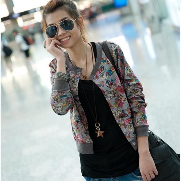 Women Casual Cute Cartoon Printing Long Sleeves Cardigan Short Jacket Coat Tops