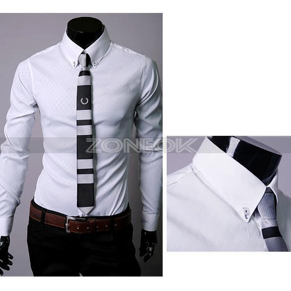 Mens Mode Plaid Lapel Slim Fit Dress Shirts Casual Blouse Tops 3 Colors 4Size